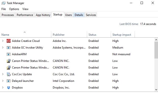 tắt những ứng dụng khởi động cùng windows